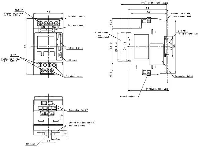kw2g-h电力监控表尺寸图