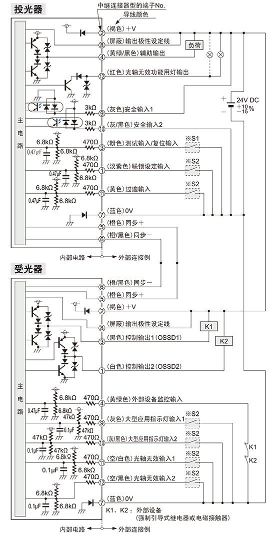 输入输出电路图 以npn输出使用时>